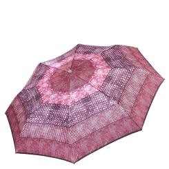 Розовый женский зонт автомат с красивым принтом на куполе от Fabretti, арт. L-17116-7