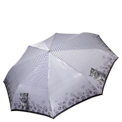 Женский легкий зонт автомат с красивым рисунком светло-серого цвета от Fabretti, арт. L-17117-11
