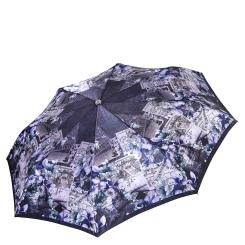 Синий женский зонт автомат с красивым узором на куполе от Fabretti, арт. L-17117-9