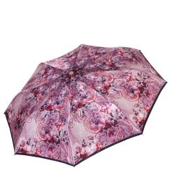 Розовый женский зонт автомат с красивым узором на куполе от Fabretti, арт. L-17118-11