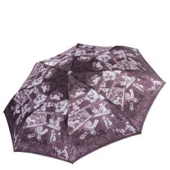 Фиолетовый женский зонт автомат с красивым узором на куполе от Fabretti, арт. L-17119-9