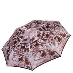 Сиреневый женский зонт автомат с красивым узором на куполе от Fabretti, арт. L-17120-3