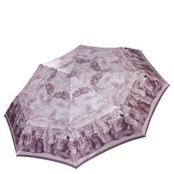 Сиреневый женский зонт автомат с красивым узором на куполе от Fabretti, арт. L-17120-4