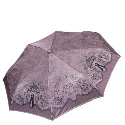 Коричневый женский зонт автомат с красивым узором на куполе от Fabretti, арт. L-17120-8