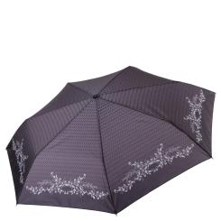 Легкий женский зонт автомат черного цвета с серым окаймлением от Fabretti, арт. P-17104-8