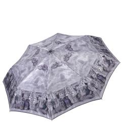 Женский легкий зонт автомат серого цвета с красивым узором от Fabretti, арт. S-17104-2