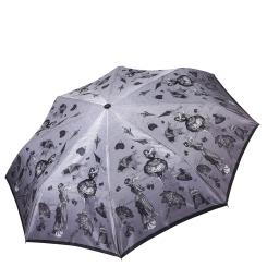 Женский легкий зонт автомат серого цвета с красивым узором от Fabretti, арт. S-17104-4