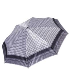 Легкий женский зонт автомат серого цвета с клетчатым узором от Fabretti, арт. S-17105-10