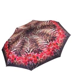 Стильный коричневый женский зонт автомат с красной каймой от Fabretti, арт. S-17105-2