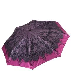 Стильный серый женский зонт автомат с бордовой каймой от Fabretti, арт. S-17106-1