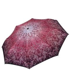 Стильный женский зонт автомат с принтом на куполе бордового цвета от Fabretti, арт. S-17106-4