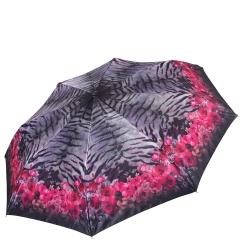 Облегченный серый женский зонт автомат с розовым узором на куполе от Fabretti, арт. S-17106-7