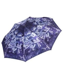 Темно-синий женский зонт автомат с узором на куполе от Fabretti, арт. S-17108-10