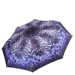 Синий легкий женский зонт автомат с узором на куполе от Fabretti, арт. S-17108-5