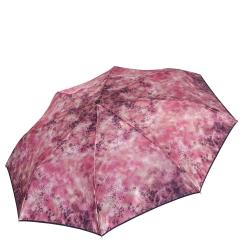 Розовый легкий женский зонт автомат с узором на куполе от Fabretti, арт. S-17109-1