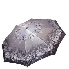 Серый легкий женский зонт автомат с узором на куполе от Fabretti, арт. S-17109-10