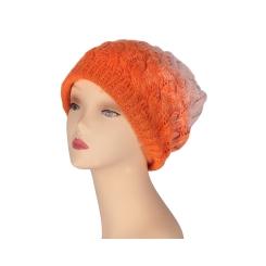 Яркая женская вязаная шапка из натуральной шерсти оранжевого цвета от Fabretti, арт. S2015-7-orange