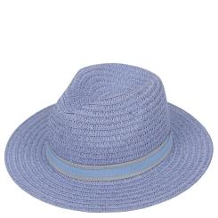 Женская летняя шляпа с широкими полями, модель голубого цвета от Fabretti, арт. V6-5 BLUE