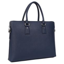 Большая мужская деловая сумка из натуральной кожи темно-синего цвета от Fabretti, арт. YFB016-blue