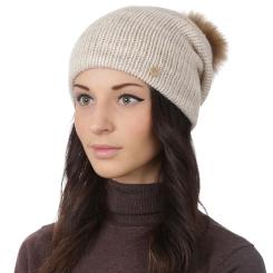 Женская шапка, из натуральной шерсти и альпаки светло бежевого цвета от Fabretti, арт. F2018-3-61