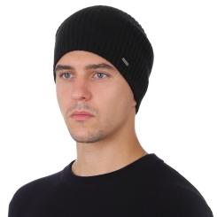 Зимняя мужская шапка из натуральной шерсти, черного цвета от Fabretti, арт. F2018-43-18