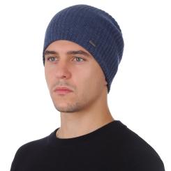 Зимняя мужская шапка из натуральной шерсти, синего цвета от Fabretti, арт. F2018-43-96
