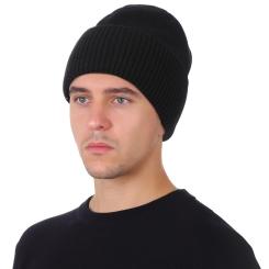 Стильная мужская шапка из натуральной шерсти, черного цвета от Fabretti, арт. F2018-45-18