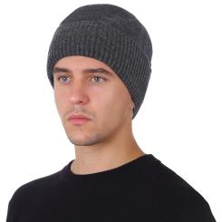 Зимняя мужская шапка из натуральной шерсти, серого цвета от Fabretti, арт. F2018-45-44