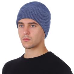 Мужская шапка удлиненной формы, из натуральной шерсти синего цвета от Fabretti, арт. F2018-45-96