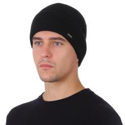 Шерстяная мужская шапка, черного цвета, с массивным подворотом от Fabretti, арт. F2018-46-18