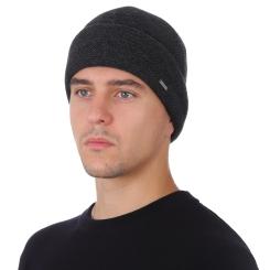 Мужская шапка из натуральной шерсти, тёмно серого цвета, с массивным подворотом от Fabretti, арт. F2018-46-44