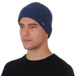Зимняя мужская шапка из натуральной шерсти, синего цвета от Fabretti, арт. F2018-46-96