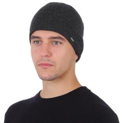 Мужская шапка из натуральной шерсти тёмно серого цвета от Fabretti, арт. F2018-47-44