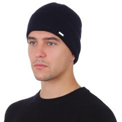Зимняя мужская шапка из натуральной шерсти, тёмно синего цвета от Fabretti, арт. F2018-47-98