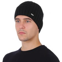 Зимняя мужская шапка из натуральной шерсти, черного цвета от Fabretti, арт. F2018-48-18