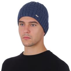 Зимняя мужская шапка из натуральной шерсти, синего цвета от Fabretti, арт. F2018-48-96