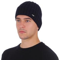 Мужская шапка из натуральной шерсти тёмно синего цвета, с простым плетением от Fabretti, арт. F2018-48-98