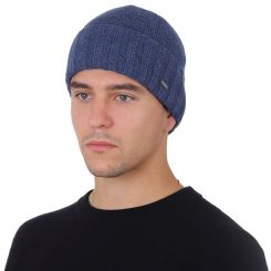 Зимняя мужская шапка из натуральной шерсти, яркого синего цвета от Fabretti, арт. F2018-51-96