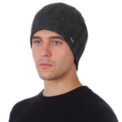 Зимняя мужская шапка из натуральной шерсти, тёмно серого цвета от Fabretti, арт. F2018-52-44