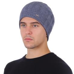 Зимняя шерстяная мужская шапка, яркого голубого цвета от Fabretti, арт. F2018-52-96
