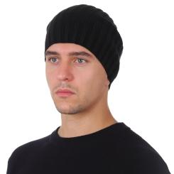 Стильная мужская шапка из натуральной шерсти, черного цвета от Fabretti, арт. F2018-53-18