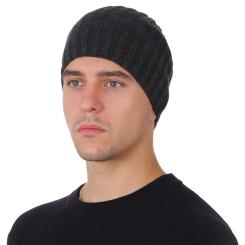 Зимняя мужская шапка из натуральной шерсти, тёмно серого цвета от Fabretti, арт. F2018-53-44