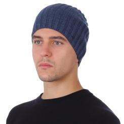 Стильная мужская шапка из натуральной шерсти, синего цвета от Fabretti, арт. F2018-53-96