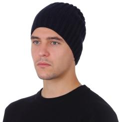Зимняя мужская шапка, из натуральной шерсти, тёмно синего цвета от Fabretti, арт. F2018-53-98