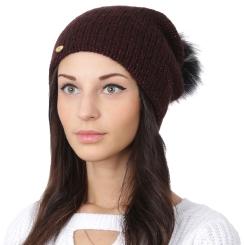 Женская шапка с помпоном, из шерсти и мохера бордового цвета, удлиненной формы от Fabretti, арт. F2018-56-26