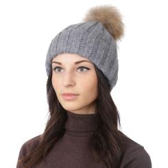 Женская шапка с помпоном, из натуральной шерсти и ангоры серого цвета от Fabretti, арт. F2018-58-33