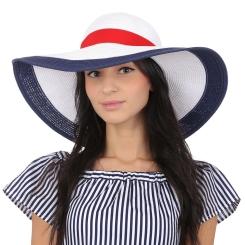 Стильная летняя женская шляпа белого цвета с цветной отделкой от Fabretti, арт. G39-4 WHITE