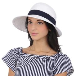 Элегантная летняя соломенная шляпа белого цвета, модель для женщин от Fabretti, арт. G4-4 WHITE