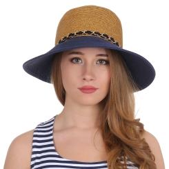 Модная женская соломенная шляпа бежево-синего цвета, украшенная цепочкой от Fabretti, арт. G40-1 BEIGE/BLUE