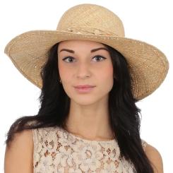 Стильная летняя женская соломенная шляпа бежевого цвета от Fabretti, арт. G41-1 beige